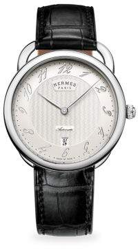 Hermes Watches Arceau Manufacture, Stainless Steel& Alligator Strap Watch