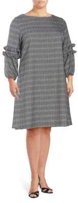 Gabby Skye Plus Plaid Long-Sleeve A-Line Dress