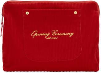 Opening Ceremony Red Corduroy Big Pocket Clutch