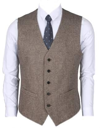 Ruth&Boaz 2Pockets 5Buttons Wool Herringbone / Tweed Business Suit Vest (XL, Tweed black,)