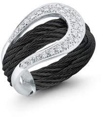 Alor Diamond Horseshoe Two-Row Ring, Size 7