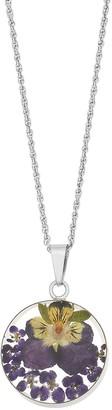 Everlasting Flowers Sterling Silver Pressed Flower Pendant Necklace