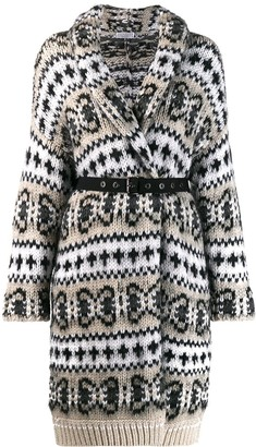 Brunello Cucinelli two-tone patterned card-coat