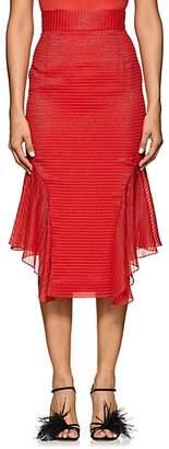 J. Mendel Women's Metallic-Striped Silk-Blend Handkerchief Skirt - Red