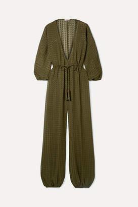 Eres Gordon Fil Coupé Silk-blend Chiffon Jumpsuit - Army green