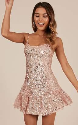 Showpo Like I Love You dress in rose gold sequin