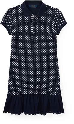Ralph Lauren Eyelet-Hem Dot Mesh Polo Dress