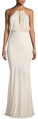 Zac Posen Marianne Beaded Long-Sleeve Cold-Shoulder Cocktail Dress