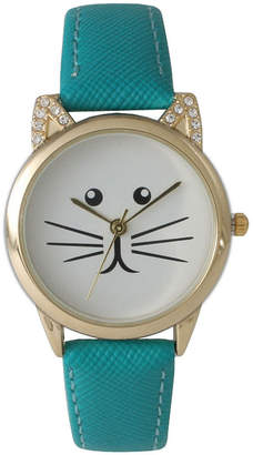 OLIVIA PRATT Olivia Pratt Womens Gold-Tone White With Black Cat Face Dial Teal Leather Strap Watch 13586L