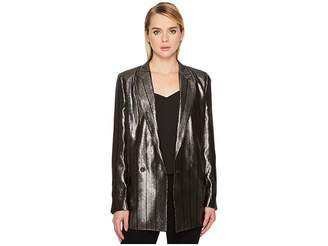 Paul Smith Metallic Long Boyfirend Jacket Women's Coat
