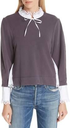 Sea Eyelet Contrast Sweatshirt