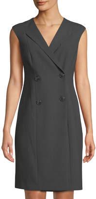 Iconic American Designer Sleeveless Double-Breasted Coat Dress