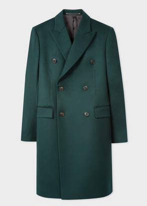 Paul Smith Men's Dark Green Double-Breasted Wool And Cashmere Overcoat