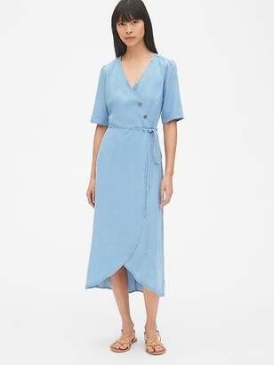 Gap Short Sleeve Side-Button Midi Wrap Dress in TENCEL