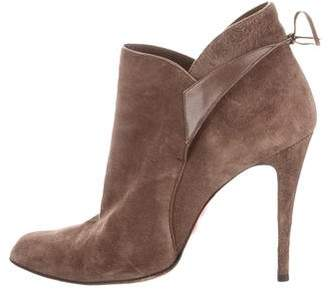 Christian Louboutin Suede Lace-Up Booties