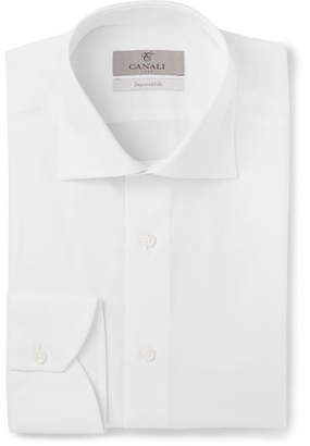 Canali White Cutaway-Collar Cotton-Piqué Shirt