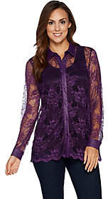 Nobrand NO BRAND Belle by Kim Gravel Lace Button Front Top withFaux Leather
