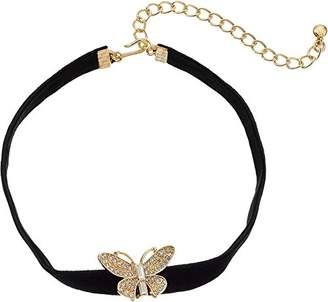 """Kenneth Jay Lane Women's 12"""" Velvet Choker with Gold and Crystal Butterfly Front and 4"""" Extender Chain Necklace"""