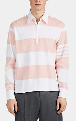 Thom Browne Men's Oversized Block-Striped Cotton Rugby Shirt - White