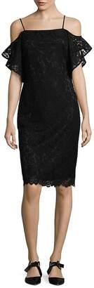 Laundry by Shelli Segal Women's Off-The-Shoulder Flutter Sleeve Sheath Dress