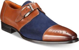 Mezlan Men Monk-Strap Medallion-Toe Suede Vamp Shoes Men Shoes