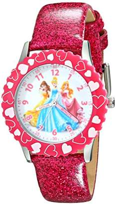 Disney Kids' W001801 Princess Stainless Steel Watch with Glitter Faux Leather Band