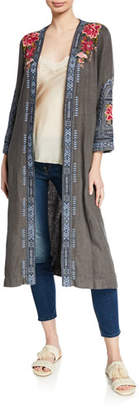 Johnny Was Davis Effortless Linen Kimono Jacket with Embroidery