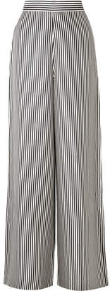 Zimmermann Striped Satin-twill Wide-leg Pants - Charcoal
