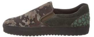John Galliano Camouflage Slip-On Sneakers