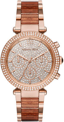 MICHAEL Michael Kors 39mm Crystal Parker Bracelet Watch, Rose Golden