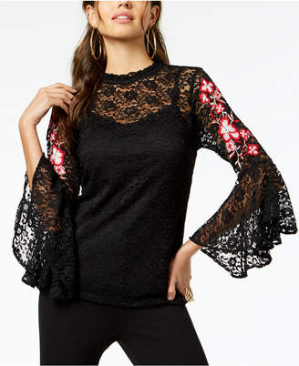 Thalia Sodi Lace Bell-Sleeve Top, Created for Macy's