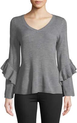 Neiman Marcus Ribbed Ruffle-Sleeve V-Neck Sweater