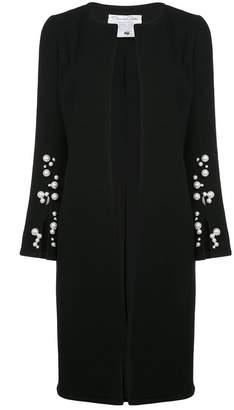 Oscar de la Renta pearl embellished slit cuff coat