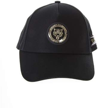 Philipp Plein Black & Gold Cotton Baseball Hat With Logo Plaque