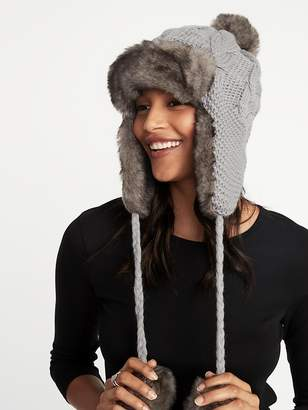 Old Navy Cable-Knit Pom-Pom Trapper Hat for Women