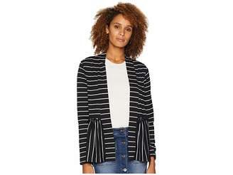 Bobeau Stripe Peplum Cardigan Women's Sweater