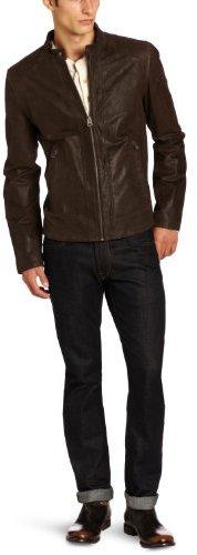 Levi's Men's Leather Racer Quilted Shoulders Jacket