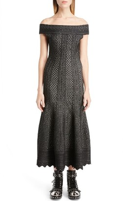 Women's Alexander Mcqueen Off The Shoulder Bicolor Jacquard Dress $2,165 thestylecure.com