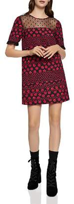 BCBGeneration Lace-Yoke Floral Print Dress