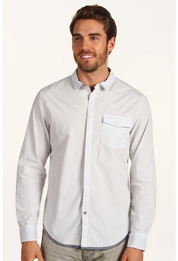 Calvin Klein Jeans L/S Woven Bluff Gingham Shirt (Dawn Blue) - Apparel