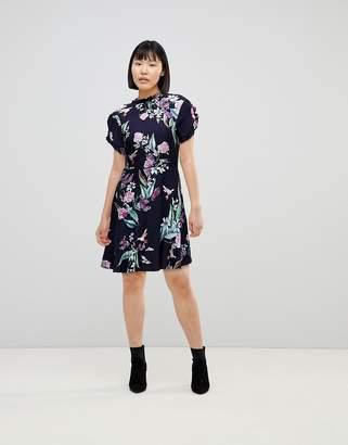 Oasis Ruffle Sleeve Floral Printed Skater Dress