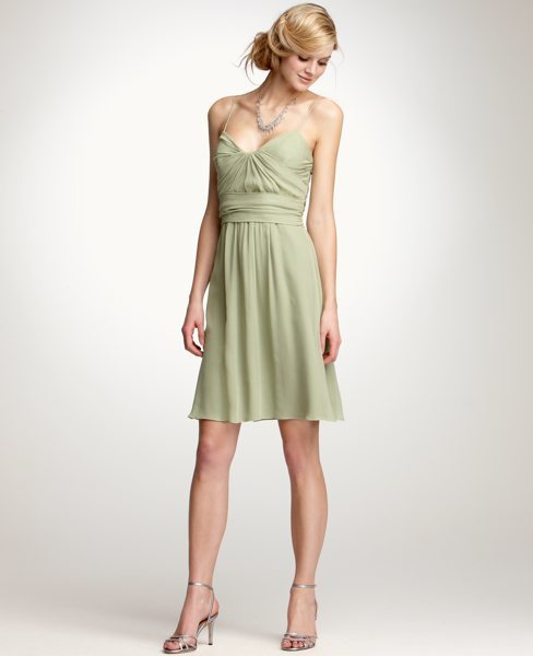Ann Taylor Alyssa Crinkle Silk Georgette Dress