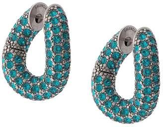 Balenciaga blue crystal loop earrings