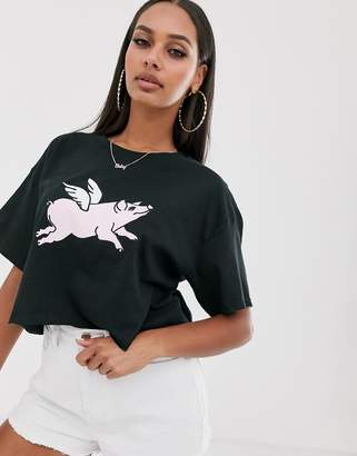 New Love Club flying pig graphic cropped t-shirt