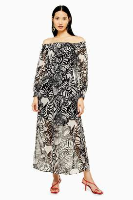 Topshop Floral Bardot Maxi Dress