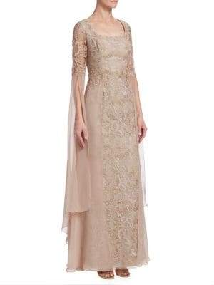 Teri Jon by Rickie Freeman Chiffon& Lace Gown