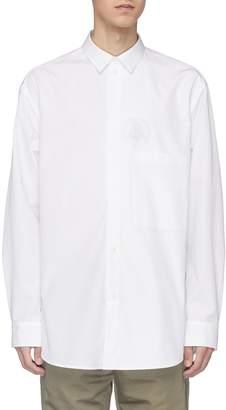 Oamc 'Illusion' slogan stamp print layered placket shirt