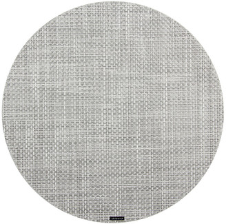 Chilewich Basketweave Round Placemat - White/Silver
