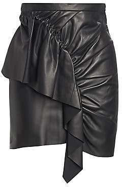 Isabel Marant Women's Nela Leather Ruffle Mini Skirt