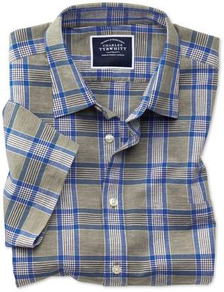 Charles Tyrwhitt Slim Fit Khaki Check Cotton Linen Short Sleeve Cotton Linen Mix Casual Shirt Single Cuff Size Medium